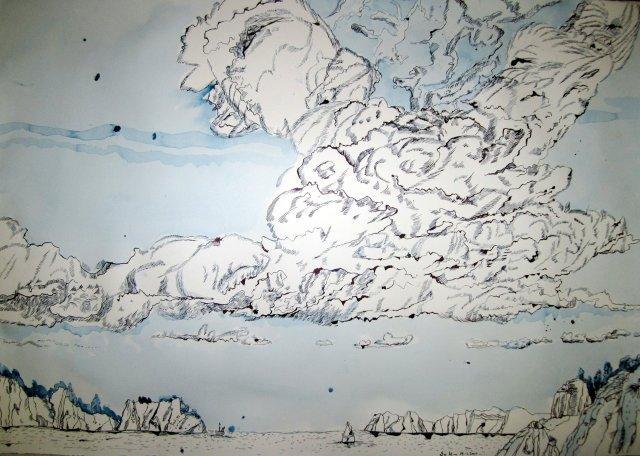 Der Blick in die Wolken - 70 x 100 cm - Tusche auf Bütten (c) Zeichnung von Susanne Haun