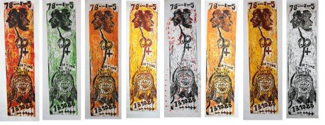 Double Bind - 125 x 31 cm (c) Holzschnitt von Susanne Haun