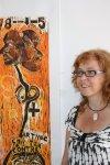 Susanne Haun und ihr Holzschnitt (c) Foto von Jörg Möller