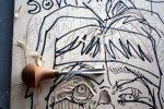 Das Holzschneiden kostet Kraft (c) Holzschnitt von Susanne Haun