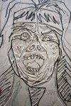 Das Gesicht ist fertig geschnitten (c) Holzschnitt von Susanne Haun
