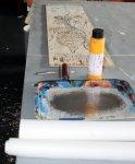 Vorbereitungen für den ersten Druck (c) Holzschnitt von Susanne Haun