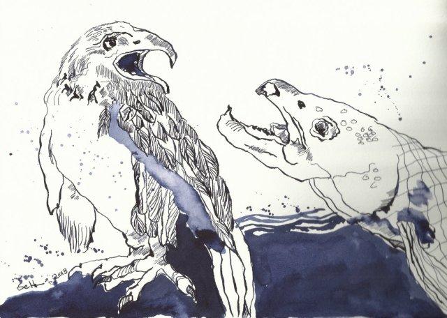 Adler und Lachs unterhalten sich  (c) Zeichnung von Susanne Haun