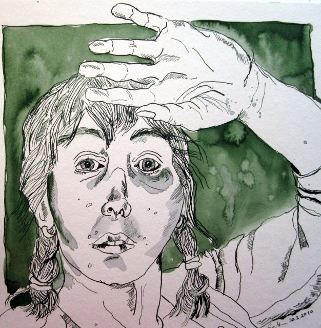 Ich bin geblendet - März 2010 - Zeichnung von Susanne Haun - 25 x  25 cm - Tusche auf Bütten