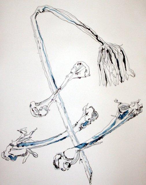 Blumen und Knochen - Version 2 (c) Zeichnung von  Susanne Haun