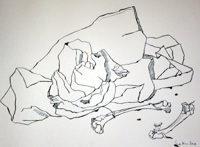 Plastiktüte und Knochen Version 2 (c) Zeichnung von Susanne Haun