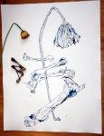 Entstehung - Knochen und Blumen - 65 x 50 cm (c) Zeichnung von Susanne Haun