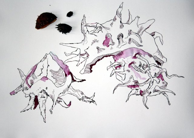 Entstehung Zeichnung -  Die Endlichkeit des Schafes (c) Susanne Haun