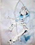 Knochen und Blumen - 65 x 50 cm (c) Zeichnung von Susanne Haun