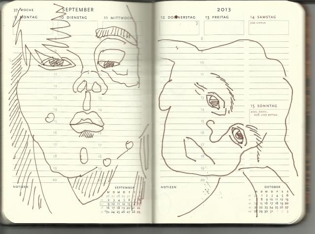 Selbstportrait Tagebuch 37. Woche 2. Teil (c) Zeichnung von Susanne