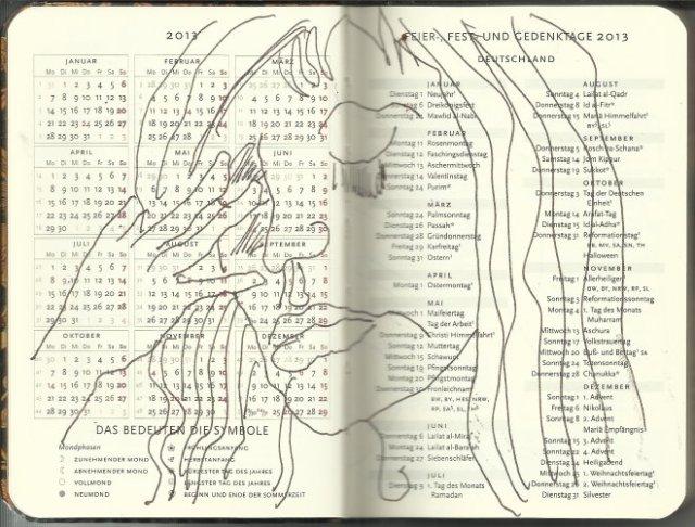 Selbstportrait Tagebuch Feiertage Seite 1 (c) Zeichnung von Susanne