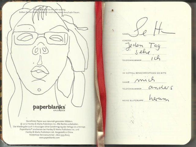 Selbstportrait Tagebuch Signatur (c) Zeichnung von Susanne