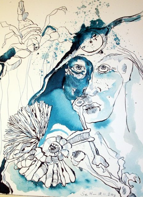 Mythos Kunst und Vergänglichkeit 40 x 30 cm (c) Zeichnung von Susanne Haun