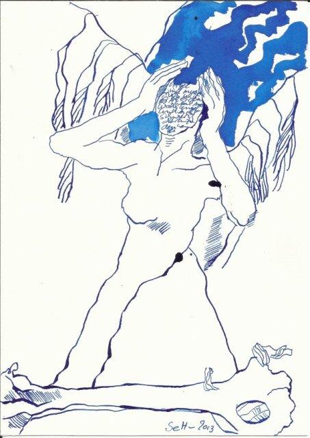 Engel mit Knochen  (c) Zeichnung von Susanne Haun