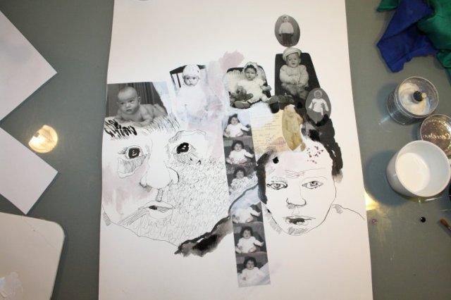 Eine neue Collagenzeichnung entsteht (c) Foto von Susanne Haun