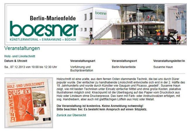 Boesner Buchvorstellung Holz- und Linolschnitt von Susanne Haun