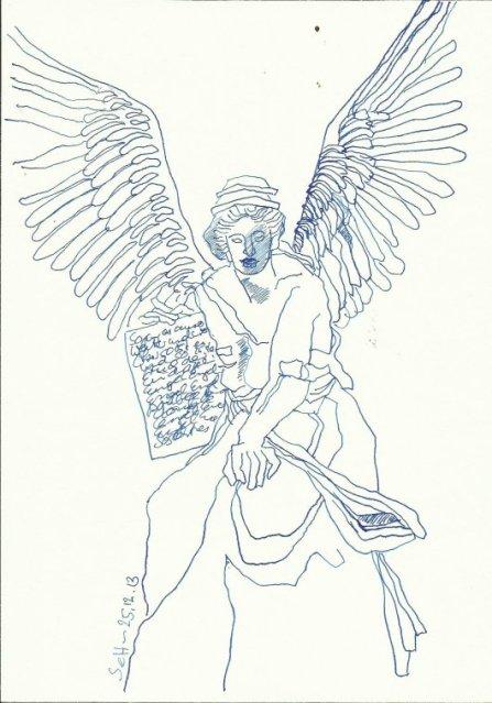 Engel Schild (c) Zeichnung von Susanne Haun