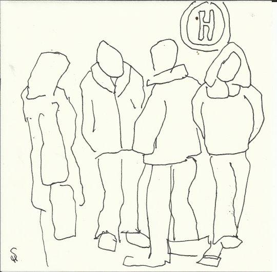 Minimal auf dem Weihnachtsmarkt  (c) Zeichnung von Susanne Haun