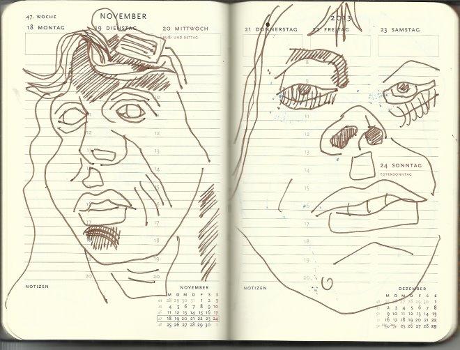 Selbstportrait Tagebuch 47. Woche (c) Zeichnung von Susanne