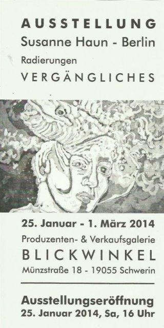 Einladungskarte Schwerin - Ausstellung Susanne Haun - Galerie Blickwinkel