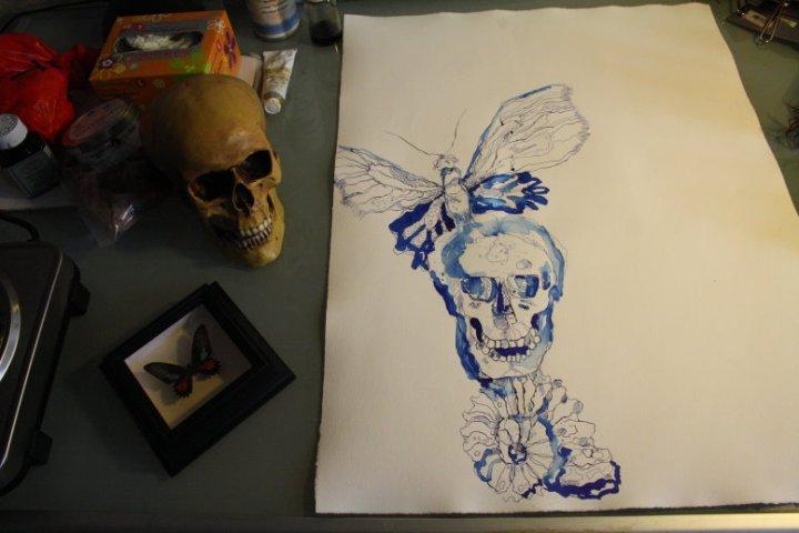 Entstehung Gang des Schmetterlings - 65 x 50 cm (c) Zeichnung von Susanne Haun