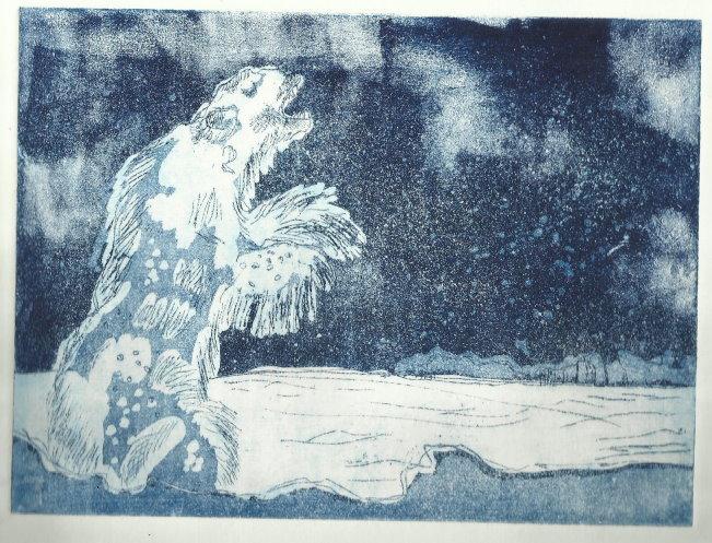 Der Eisbärenliebhaber - Eine Geschichte ergab eine andere (c) Radierung von Susanne Haun