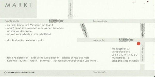 Einladungskarte Schwerin - Ausstellung Susanne Haun - Galerie Blickwinkel Wegbeschreibung