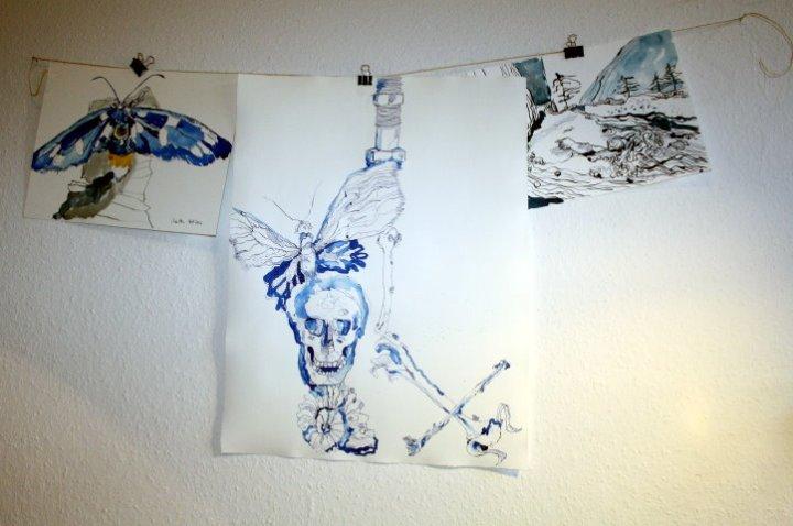 Endkontrolle Gang des Schmetterlings - 65 x 50 cm (c) Zeichnung von Susanne Haun