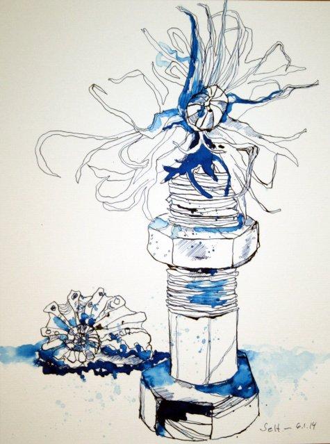 Geschraubt und gedreht - 40 x 30 cm (c) Zeichnung von Susanne Haun