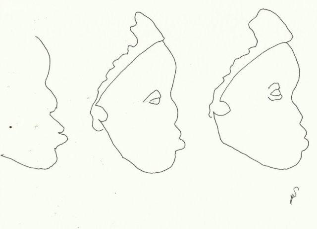 Gesichter (c) Zeichnungen von Susanne Haun