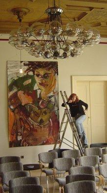 Hängung Hommage an Basquiat - 220 x 140 cm - 2005 (c) Leinwand von Susanne Haun