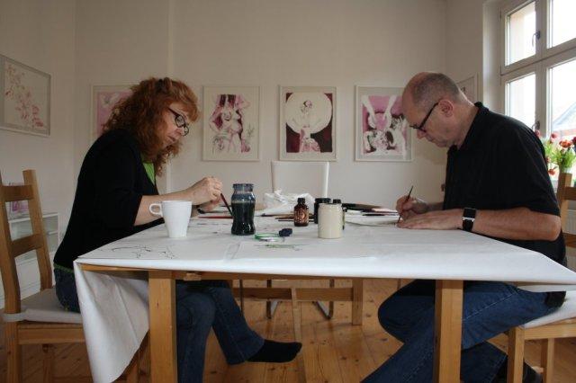 Jürgen und ich arbeiten an den Berliner Blätter (c) Foto von Susanne Haun