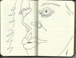 Selbstportrait Tagebuch Notizen 1 (c) Zeichnung von Susanne Haun