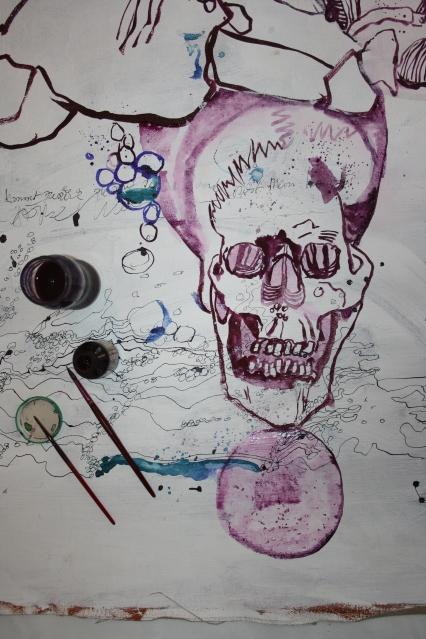 Der DingTurm ruht auf einer kleinen Kugel (c) Zeichnung auf Leinwand von Susanne Haun