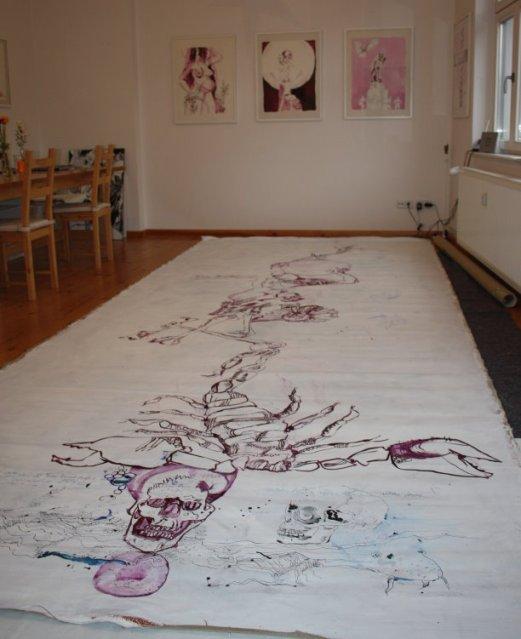 wischenstand (c) Zeichnung auf Leinwand von Susanne Haun