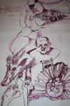 Zwischenstand der Welt (c) Zeichnung auf Leinwand von Susanne Haun
