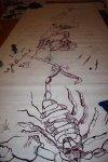 Ich werde den Skorpion nochmals überzeichnen Ein Skorpion entsteht (c) Foto von Susanne Haun