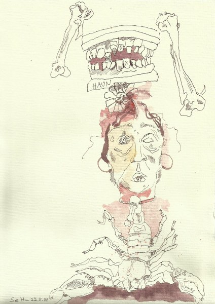Ein ironischer Blick auf mein Ich  Version 1 (c) Zeichnung von Susanne Haun