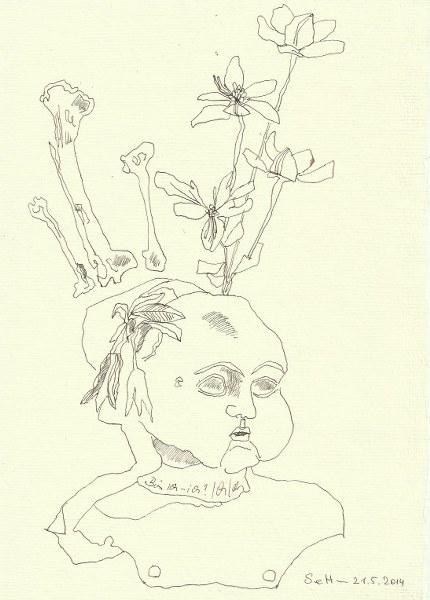 Ein ironischer Blick auf mein Ich  Version 2 (c) Zeichnung von Susanne Haun