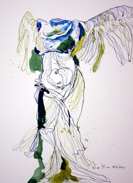 Nike von Samothrake - Vers. 1 - 30 x 20 cm - Tusche auf Hahnemühle Bütten (c) Zeichnung von Susanne Haun