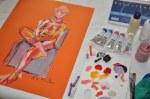 Sitzender Akt in Rot - 65 x 50 cm - Ölkreide und Acryl auf LanaColours von Susanne Haun (c) Foto von M.Fanke