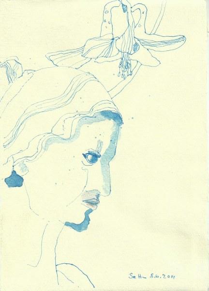 Blaues Wesen Version 1 (c) Zeichnung von Susanne Haun
