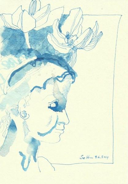 Blaues Wesen Version 2 (c) Zeichnung von Susanne Haun