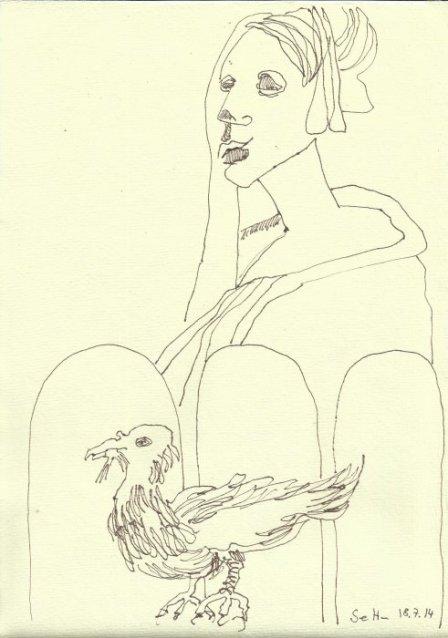Inspiration zu Dresden - 30 x 20 cm - Tusche auf Bütten (c) Zeichnung von Susanne Haun