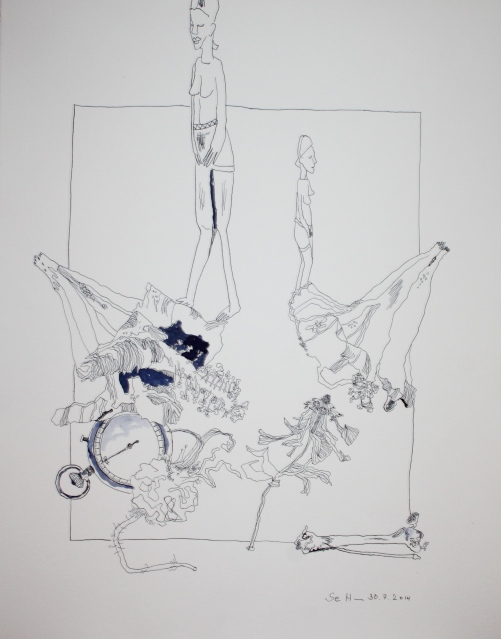 Das Vergehen der Zeit - 65 x 51 cm - Tusche auf Bütten (c) Zeichnung von Susanne Haun