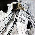 Blatt 16 - Die Zeit rollt vom Berg - 25 x 25 cm - Zeichnerische Fotocollage von Susanne Haun