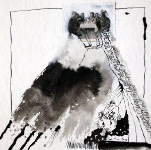 Blatt 33 - Mimi am unteren Rand des Berges - 25 x 25 cm - Collage von Susanne Haun