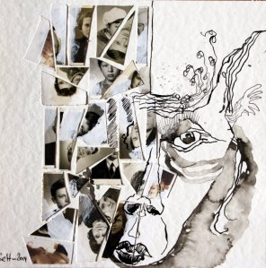 Blatt 47 - Jedermanns Vergänglichkeit - 25 x 25 cm (c) Collage von Susanne Haun