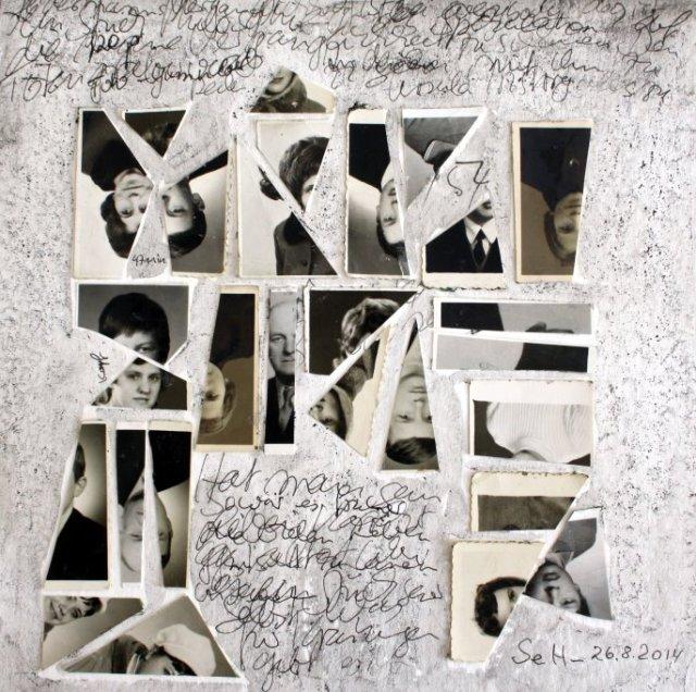 Blatt 47 Alt - Jedermanns Vergänglichkeit - 25 x 25 cm (c) Collage von Susanne Haun