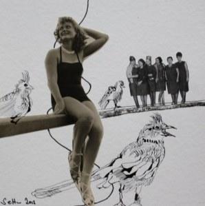 Blatt 24 - Hühner auf der Stange - 25 x 25 cm - Zeichnerische Fotocollage von Susanne Haun